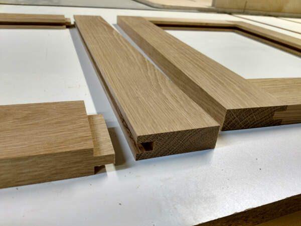 Piecing together cabinet door frames