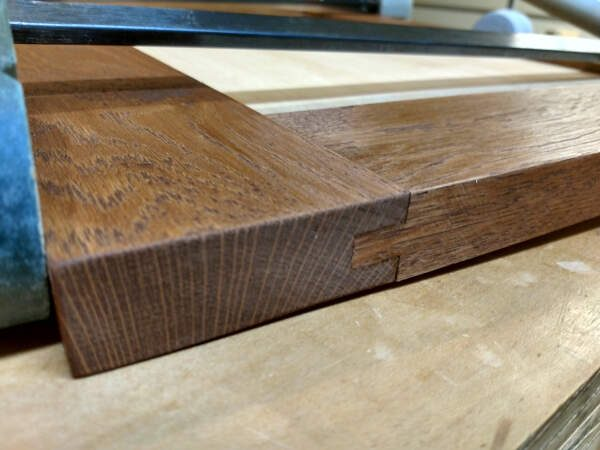Closeup of tongue and groove during glue up
