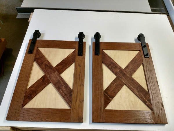 how to build cabinet doors with tongue and groove joinery, barn door hardware, and X styled