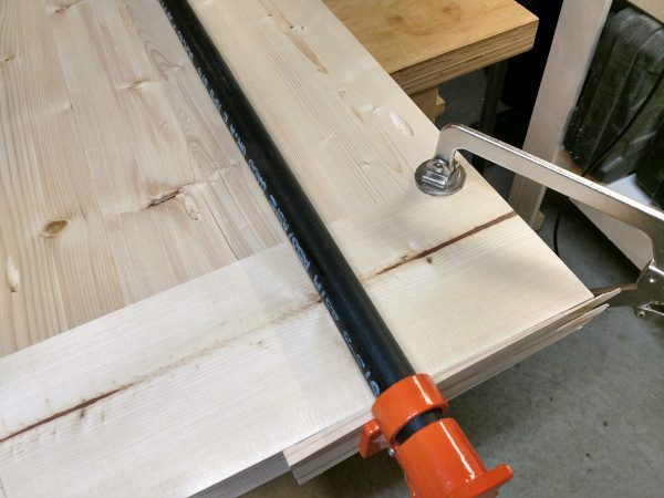 clamped and ready to attach breadboard end with pocket screws