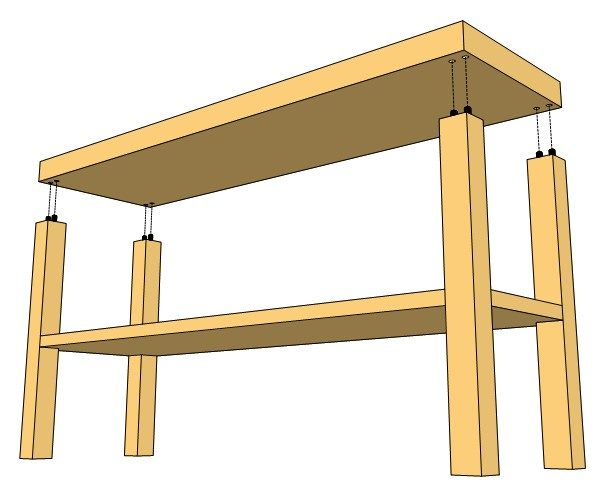 modern tv console top joinery detail
