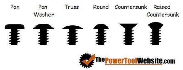 types of wood screw heads